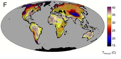 This map shows the maximum wet-bulb temperatures reached in a climate model from a high carbon dioxide emissions future climate scenario with a global-mean temperature 12 degrees Celsius (21 degrees Fahrenheit) warmer than 2007. The white land areas exceed the wet-bulb limit at which researchers calculated humans would experience a potentially lethal level of heat stress. (Purdue University graphic/Matthew Huber)